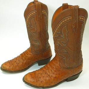 Cats Paw Mens 10.5D Ostrich Leather Western Boots